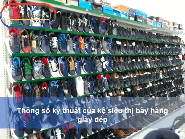 Thông số kỹ thuật của kệ siêu thị bày hàng giày dép