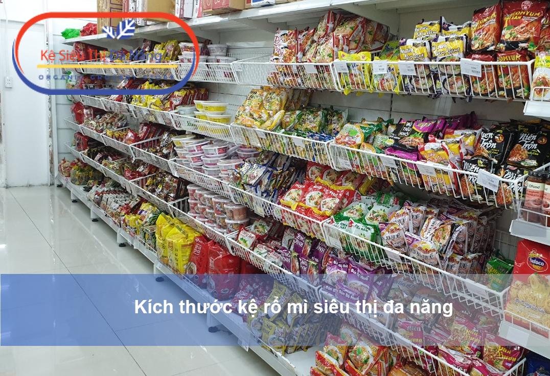 Kích thước kệ siêu thị rổ mì đa năng