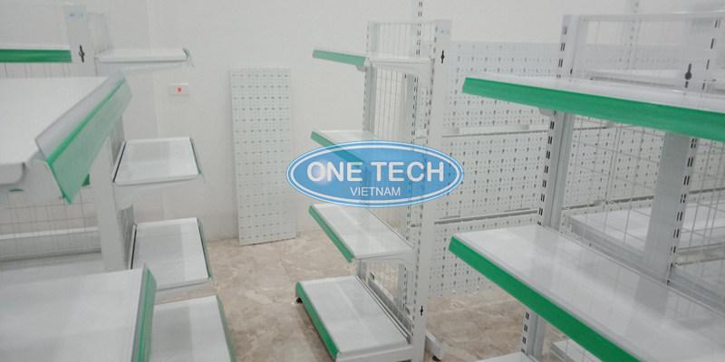 Kệ siêu thị sơn tĩnh điện do onetech sản xuất